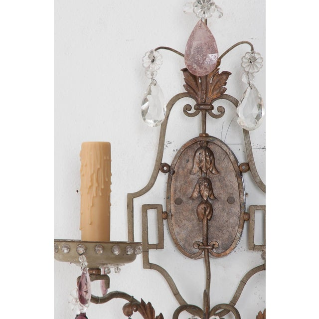 Art Deco French Painted and Crystal Sconces - a Pair For Sale - Image 3 of 11