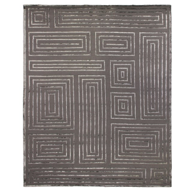 Transitional Vera Charcoal/Dark Gray Hand knotted Wool/Viscose Area Rug - 6'x9' For Sale - Image 3 of 3