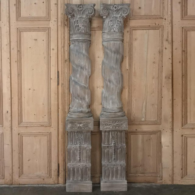 French Pair French Architectural Corinthian Weathered Oak Hand Carved Columns For Sale - Image 3 of 13
