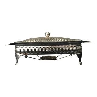 English Silverplate/Pyrex Food Warmer and Server 16x8 For Sale