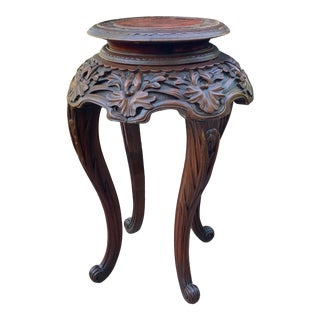 Antique Carved Rosewood Pedestal Table / Plant Stand For Sale