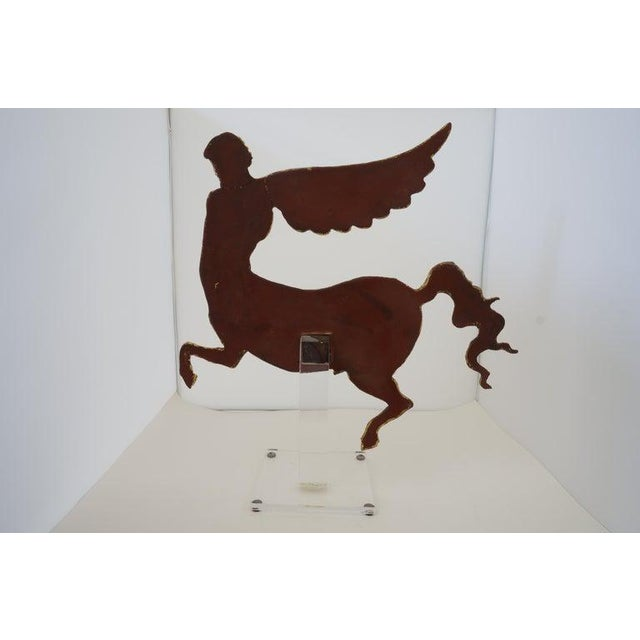 Figurative Lucite Stand With Antique Neoclassic Revival Winged AlaCentaur Figure Gold Leaf For Sale - Image 3 of 12