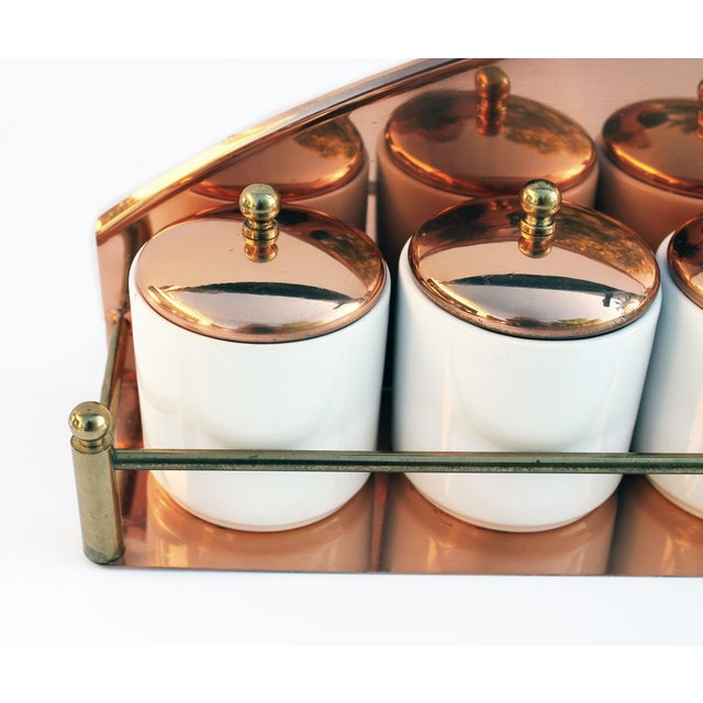 Vintage Copper Spice Rack & Canisters - Set of 7 - Image 3 of 8