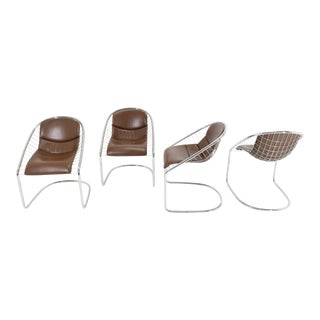 Minotti Chairs in Brown Leather by Gordon Guillaumier Cortina- Set of 4 For Sale