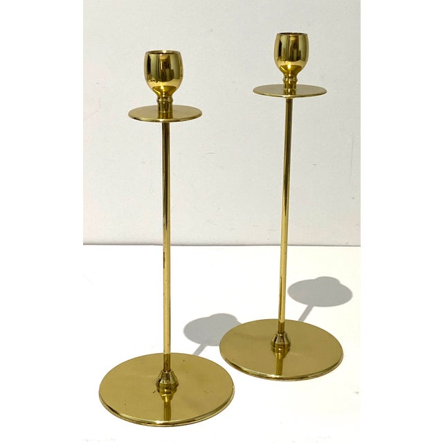 Art Deco 1930s Brass Candlesticks From England - a Pair For Sale - Image 9 of 9