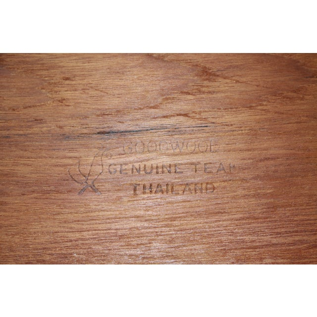 Mid Century Teak Cheese Tray with Glass Top - Image 5 of 5