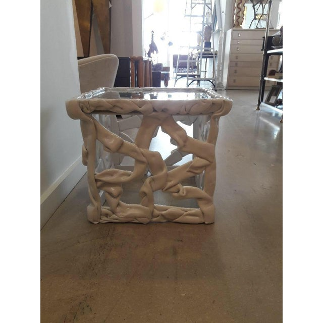 1970s 1970s Abstract White Taffy Resin Cube Table For Sale - Image 5 of 9