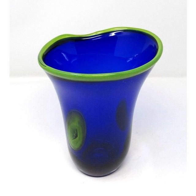 Hand Blown Freeform Cobalt Art Glass Vase For Sale In Los Angeles - Image 6 of 11