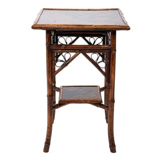 Victorian Bamboo 2 Tier Side Table For Sale