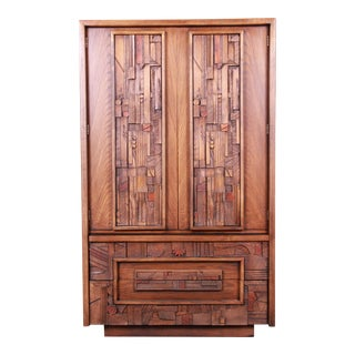 Paul Evans Style Lane Pueblo Brutalist Oak Armoire Dresser, 1970s For Sale