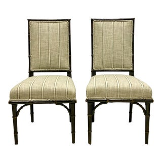 Pair of Ebonized French Faux Bamboo Side Chairs-Pair For Sale