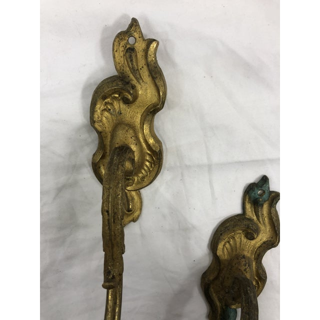 French Antique 19th Century Gilded Bronze Curtain Tie Backs or Hooks - a Pair For Sale - Image 4 of 6