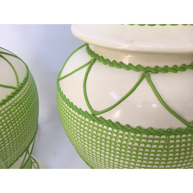 Green & White Hollywood Regency Table Lamps - A Pair - Image 3 of 5