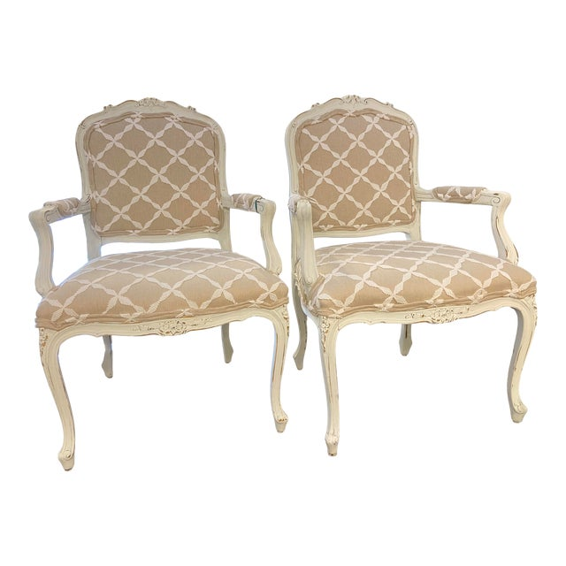 Late 20th Century French Linen Chair - a Pair For Sale