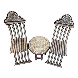 Syrian Handmade Mother of Pearl Inlay Campaign Chairs & Table - Set of 3