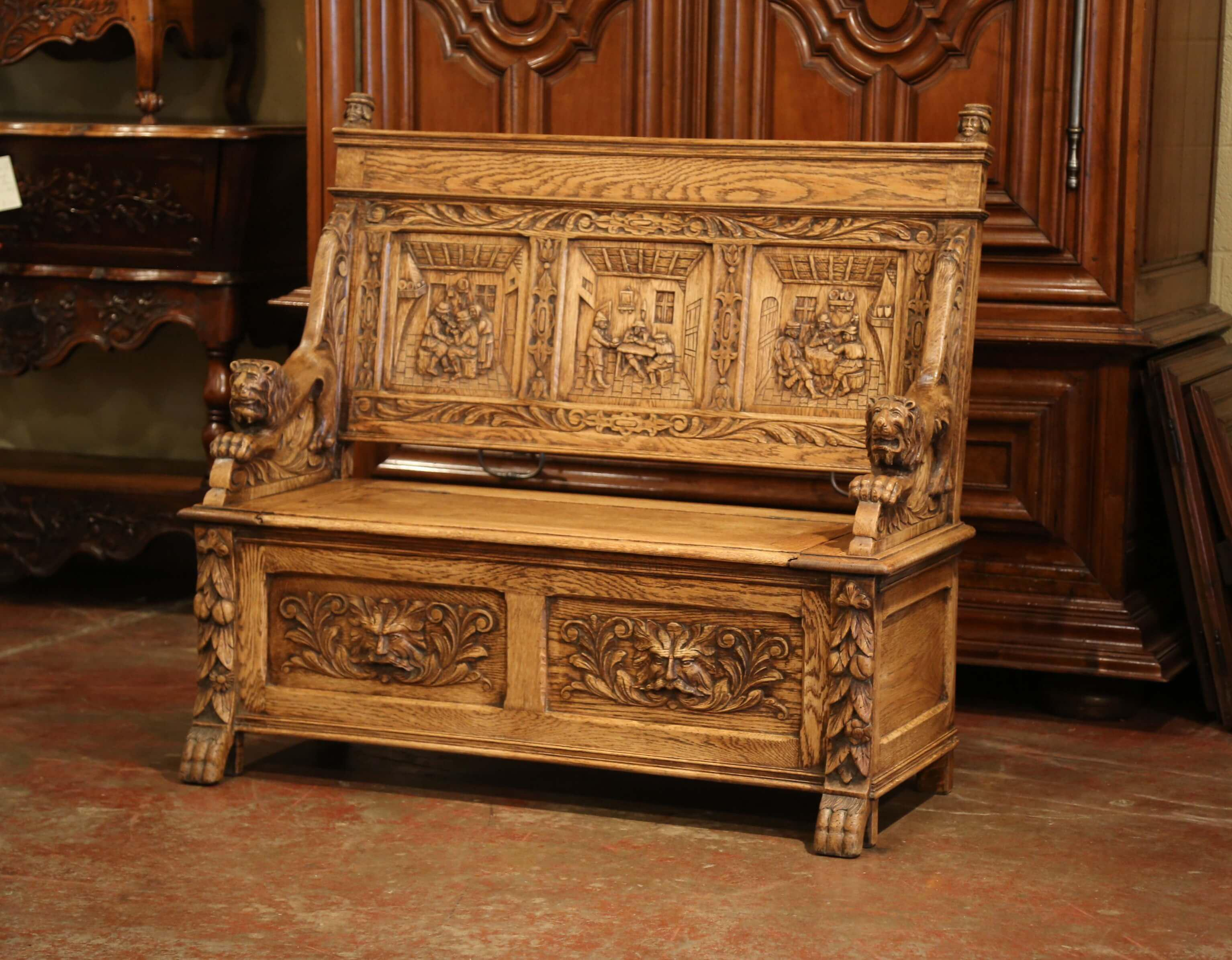 Exceptional 19th Century French Carved Oak Bench With Storage Trapdoor For  Sale In Dallas   Image