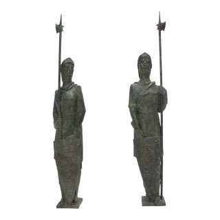 Life-Size Bronze Statue Sculpture Middle Ages Knight in Armor, a Pair For Sale
