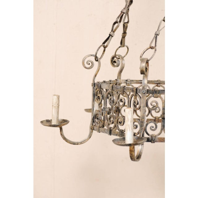 Light Gray French Midcentury Six-Light Iron Chandelier With Lovely Scrolling Pattern For Sale - Image 8 of 11