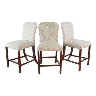 Hickory Furniture Upholstered Bar Stools - Set of 3 For Sale