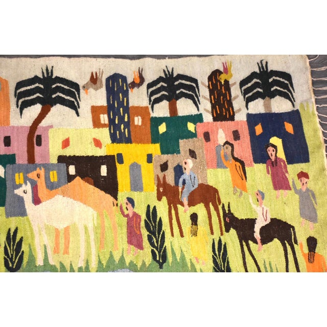 Modern Handmade Wool Kilim Tapestry Rug For Sale - Image 3 of 10