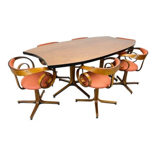 """George Mulhouse for Plycraft. Mid Century Modern Complete """"Saltana"""" """"Scroll"""" Dining Set - 7 Pieces For Sale"""