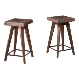 Pair of Christian Durupt stools from Meribel, France, 1950s For Sale