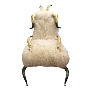 Horn Chair with Mongolian Lambs Wool Upholstery For Sale