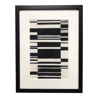 Vintage Abstract Ink on Vellum Paper Broken Stripe