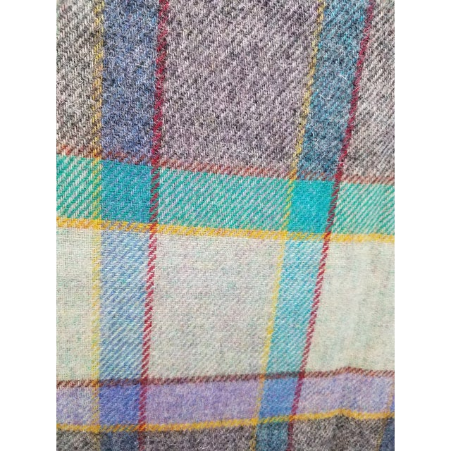 Wool Throw Blues, Yellow, Black, Red, Green and Purple in Different Sized Stripes - Made in England For Sale - Image 9 of 11