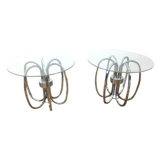 Milo Baughman Style Chrome Ring Side Tables - a Pair For Sale