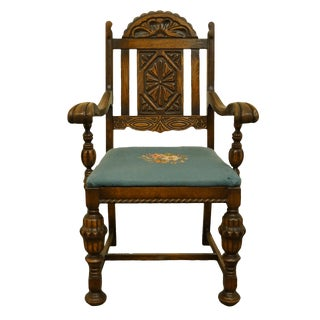 1920s Vintage English Gothic Revival Jacobean Style Walnut Dining Arm Chair For Sale