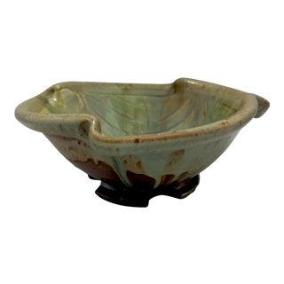 Free Form Drip Glaze Studio Pottery Footed Centerpiece Bowl