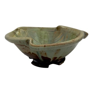 Signed Drip Glaze Studio Pottery Footed Centerpiece Bowl For Sale