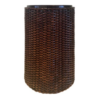 Tropical Island Style Rattan and Wood Woven Wastebasket For Sale