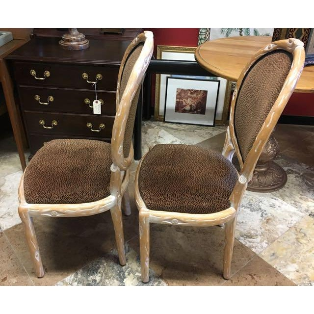 2000 - 2009 Boho Chic Faux Bois Brown Velvet Side Chairs - Set of 4 For Sale - Image 5 of 12