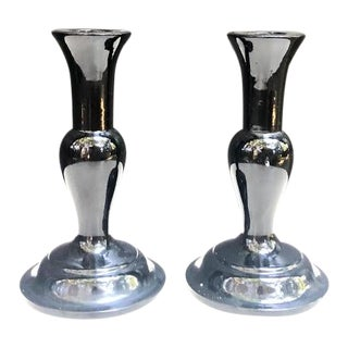 Bambo Japan Mid-Century Black Painted Wood Candlesticks - a Pair For Sale
