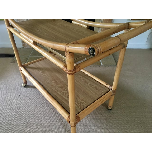 Yellow Mid-Century Bamboo Bar Cart For Sale - Image 8 of 10