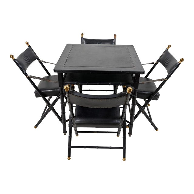 1950s French Game Table and Campaign Chairs - 5 Pieces For Sale