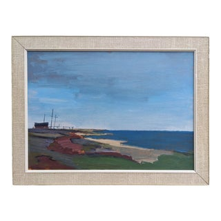 """Mid 20th Century """"Boundless"""" Coastal Landscape Oil Painting, Framed For Sale"""