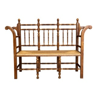 Vintage Tallback French Country Oak Rush Seat Bench Settee For Sale