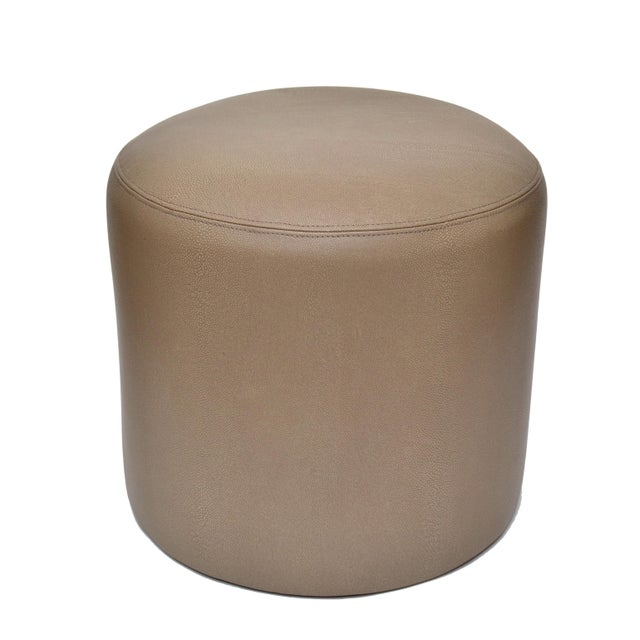 Original Round Shagreen Leather Ottoman For Sale - Image 4 of 4