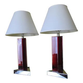 1990s Italian Style Red Lucite Chrome Base, Table Lamps - a Pair