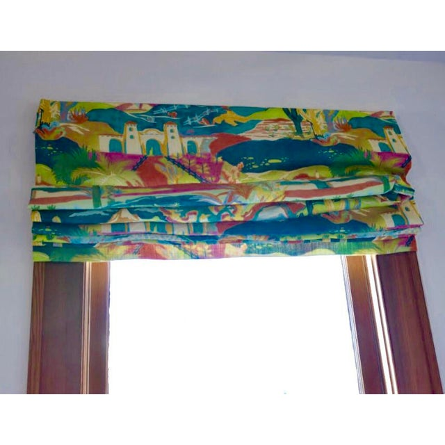 Multicolored Mexican Scene Pattern Roman Shade For Sale - Image 10 of 10
