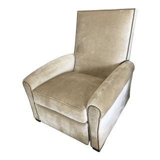 Edward Ferrell-Lewis Mittman Greenwich Club Full Pitch Recliner - Fabric Is Lee Jofa Threads - Pattern Calisto - Color Parchment For Sale