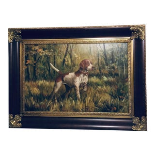 Large Oil Painting on Canvas Hunting Dog in the Wood Signed For Sale