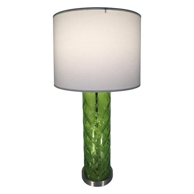 Green Glass Lamp With Bamboo Pattern - Image 1 of 6