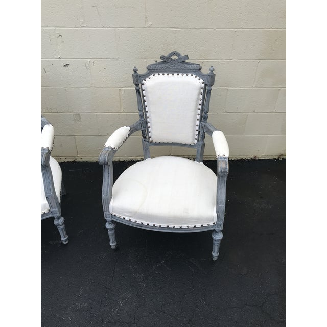 Linen Gray & White Dining Chairs - a Pair For Sale - Image 7 of 8