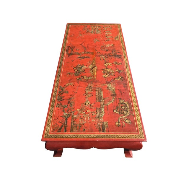 Asian Chinese Red Lacquer & Gilt Low Coffee Table For Sale - Image 3 of 13