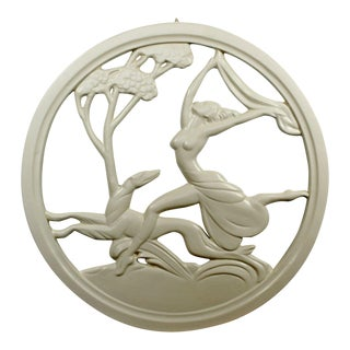 Art Deco Plaster Medallion From New Orleans Brothel of a Female & Greyhound For Sale
