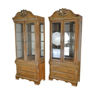 Lexington French Style Pair Tall Curio Display Cabinets For Sale